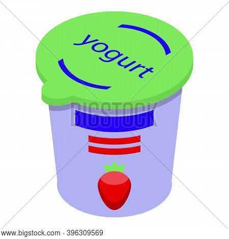 Healthy Yogurt Food Icon. Isometric Of Healthy Yogurt Food Vector Icon For Web Design Isolated On Wh