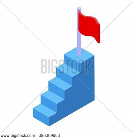Mentor Success Stairs Icon. Isometric Of Mentor Success Stairs Vector Icon For Web Design Isolated O