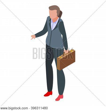 Successful Business Woman Elegant Icon. Isometric Of Successful Business Woman Elegant Vector Icon F
