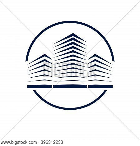 Futuristic Building Round Shape Icon Or Logo, Modern Style Vector Architecture Illustration. Real Es