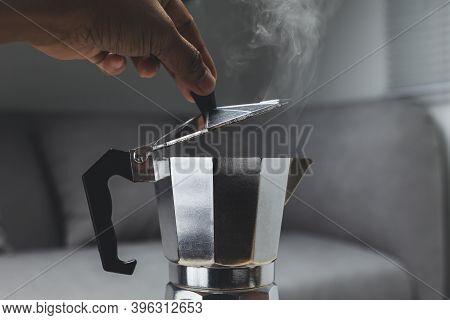 Moka Pot Espresso Machine On The Stove