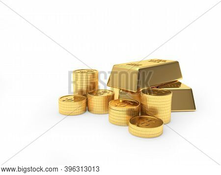 Heap Of Gold Bars And Coins Stacked In Piles Isolated On A White Background. 3d Illustration