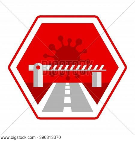 Observatory On Border Crossings Status Due To Covid-19 Icon Stylized As Hexagon Stop Sign - Customs