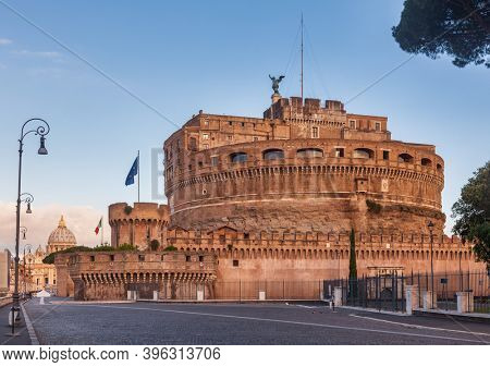 The Mausoleum of Hadrian or Castel SantAngelo circular 2nd-century castle in Rome, Italy