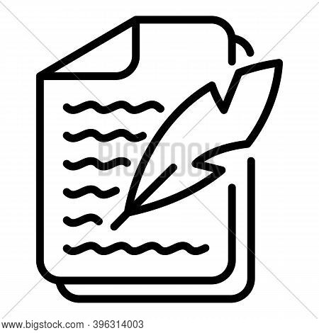 Feather Writing Report Icon. Outline Feather Writing Report Vector Icon For Web Design Isolated On W