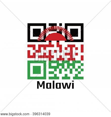 Qr Code Set The Color Of Malawi Flag. Black Red And Green; Charged With A Red Rising Sun Centred On