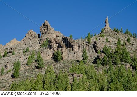 Rocky Cliffs With El Fraile To The Right. The Nublo Natural Monument. Tejeda. Gran Canaria. Canary I