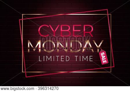 Cyber Monday Sale Background. Vector Illustration On Black