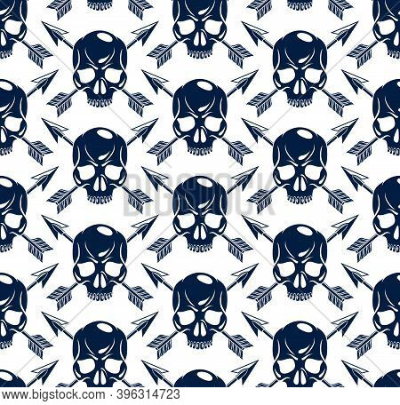 Black Skulls Seamless Vector Background, Endless Pattern With Horror Death Sculls, Stylish Wallpaper