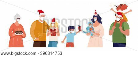 A Family, Grandparents With Grandchildren, A Pregnant Woman, People In Medical Masks And Santa Hats