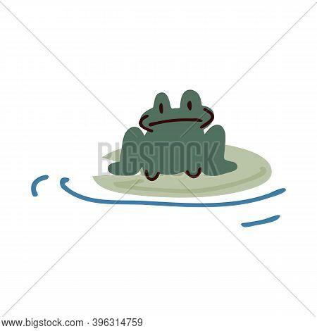 Cute Cartoon Toad On Lily Pad Lineart Vector Illustration. Simple Amphibian Sticker Clipart. Kids La