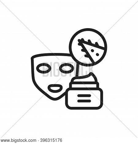 Aloe Vera Face Mask Black Line Icon. Skin Care. Moisturizing And Nourishing Skin. Outline Pictogram