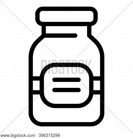 Sport Nutrition Glass Jar Icon. Outline Sport Nutrition Glass Jar Vector Icon For Web Design Isolate