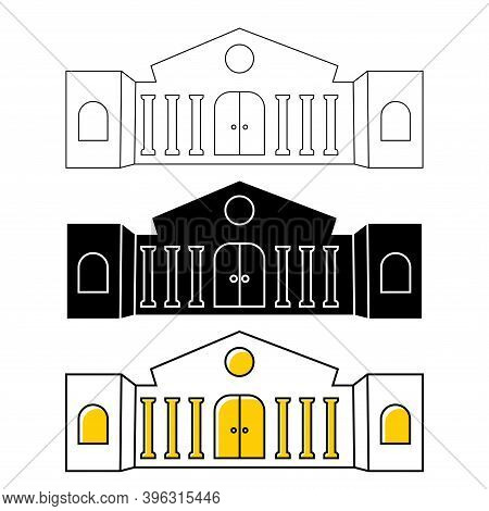 Museum Or Bank Building Icon. City Architecture, Public, Government Building. Art Museum Symbol. Bui