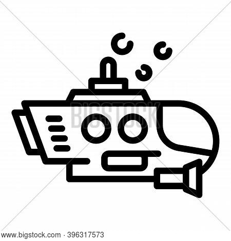 Aquatic Bathyscaphe Icon. Outline Aquatic Bathyscaphe Vector Icon For Web Design Isolated On White B