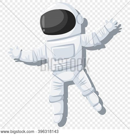 Astronaut In Helmet And Spacesuit Isolated On Transparent Background. Vector Cartoon Chatacter Illus