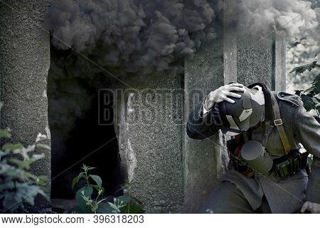 World War 2 Soldier And Explosion. War Concept.