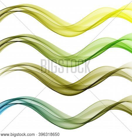 Bright Fresh Speed Mild Spring Light Waves Collection. Abstract Web Smooth Mild Divider Lines - Fash
