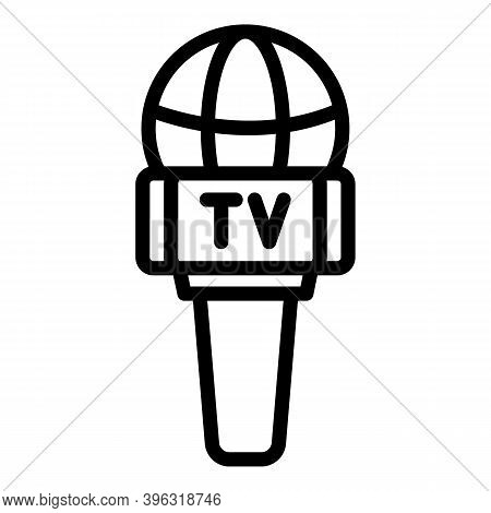 Tv Reportage Microphone Icon. Outline Tv Reportage Microphone Vector Icon For Web Design Isolated On