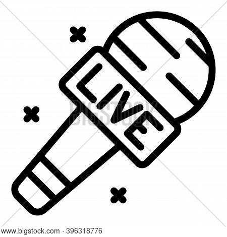 Live Reportage Microphone Icon. Outline Live Reportage Microphone Vector Icon For Web Design Isolate