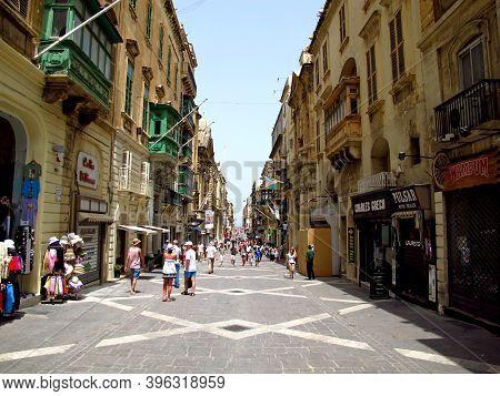 Valletta, Malta - 19 Jul 2011: The Street In Valletta, Malta