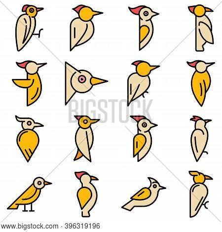 Woodpecker Icons Set. Outline Set Of Woodpecker Vector Icons Thin Line Color Flat On White