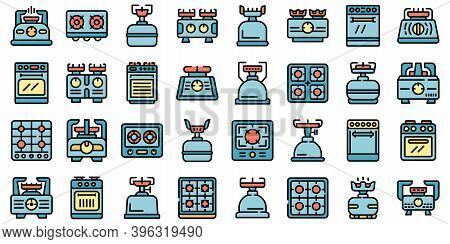 Burning Gas Stove Icons Set. Outline Set Of Burning Gas Stove Vector Icons Thin Line Color Flat On W