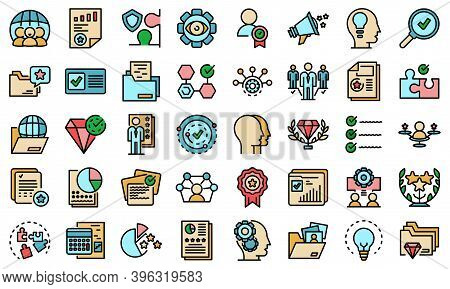 Expertise Icons Set. Outline Set Of Expertise Vector Icons Thin Line Color Flat On White