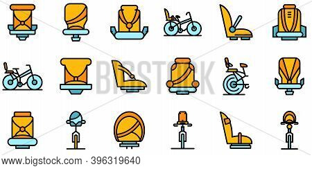 Child Seat Bike Icons Set. Outline Set Of Child Seat Bike Vector Icons Thin Line Color Flat On White