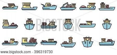 Ferry Icons Set. Outline Set Of Ferry Vector Icons Thin Line Color Flat On White