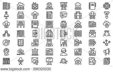 Customer Database Icons Set. Outline Set Of Customer Database Vector Icons For Web Design Isolated O