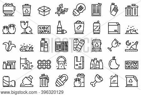 Waste Icons Set. Outline Set Of Waste Vector Icons For Web Design Isolated On White Background