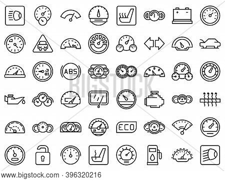 Car Dashboard Icons Set. Outline Set Of Car Dashboard Vector Icons For Web Design Isolated On White