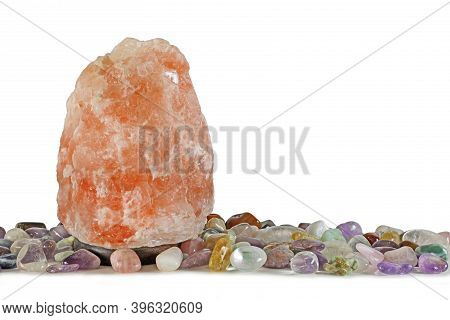 New Age Salt Lamp With Healing Crystal Selection - Large 10 Kilo Pink Himalayan Salt Lamp Aligned Wi