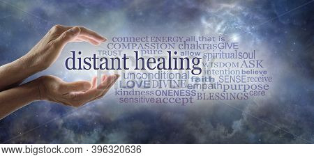 Words Associated With Reiki  Healer Sending High Frequency Energy - Cupped Hands With White Light Be
