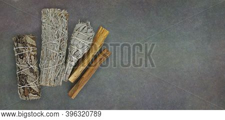 Four Different Smudge Sticks Message Board Background - Dark Rustic Background With Copy Space For S