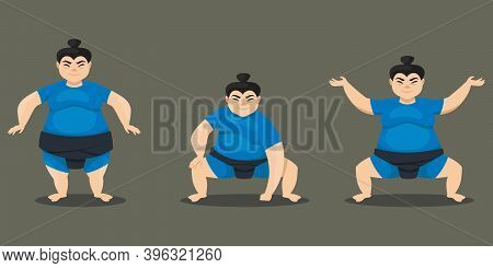Sumo Wrestler In Different Poses. Female Character In Cartoon Style.