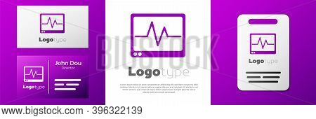 Logotype Computer Monitor With Cardiogram Icon Isolated On White Background. Monitoring Icon. Ecg Mo