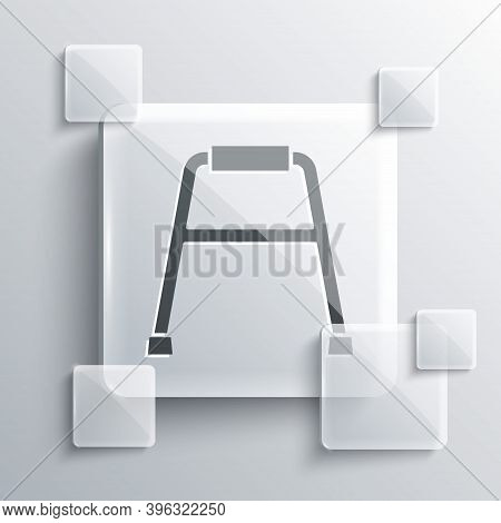 Grey Walker For Disabled Person Icon Isolated On Grey Background. Square Glass Panels. Vector