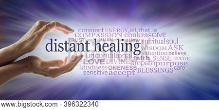 Light Worker Sending High Frequency Distant Healing Word  Cloud Concept - Cupped Hands With White Li