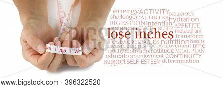 Words Associated With Losing Inches Tag Cloud - Female Hand Holding A Measuring Tape Between Her Han