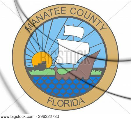 3d Seal Of Manatee County (florida State), Usa. 3d Illustration.