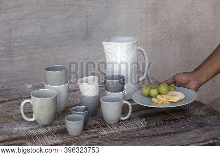 Ceramic Kitchenware, Ceramic Water Jug, A Ceramic Mug, And A Ceramic Plate. High-end Porcelain Dinne