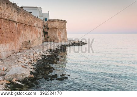Overview Of The Old City Walls In The Historic Center Of Monopoli In Puglia (apulia - Southern Italy
