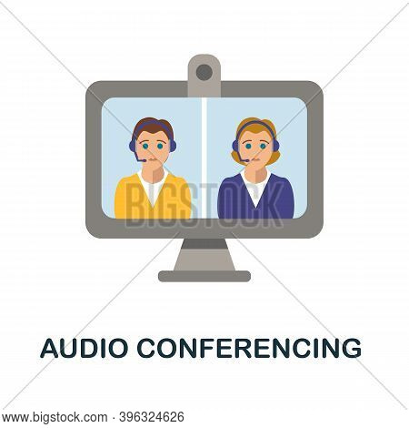 Audio Conferencing Icon. Simple Element From Online Education Collection. Creative Audio Conferencin