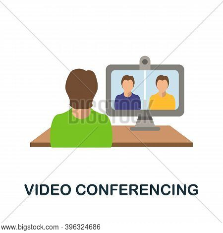 Video Conferencing Icon. Simple Element From Online Education Collection. Creative Video Conferencin