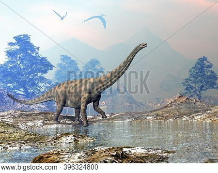 Spinophorosaurus Dinosaur Walking In A Landscape With Water By Day - 3d Render