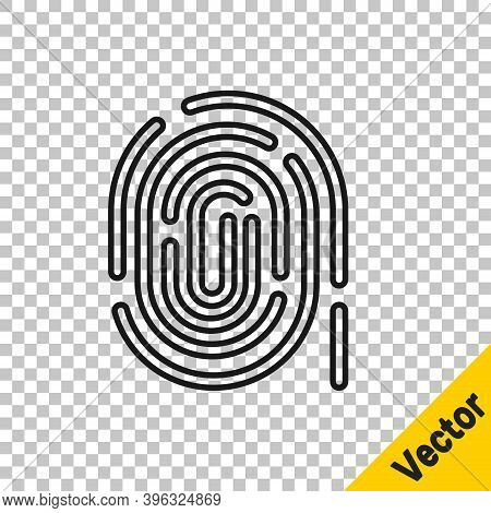 Black Line Fingerprint Icon Isolated On Transparent Background. Id App Icon. Identification Sign. To