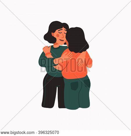 Empathy. Empathy And Compassion Concept - Young Woman Hugging A Sad Woman.