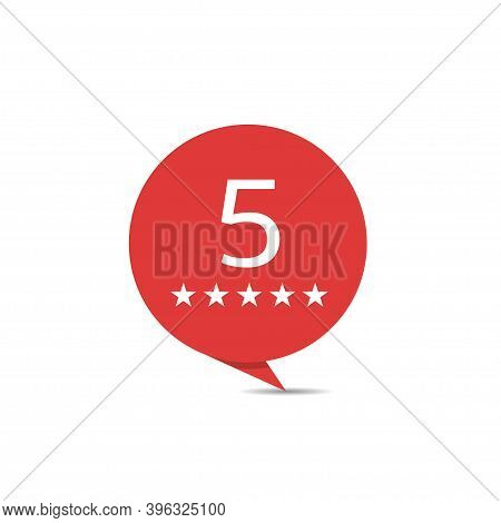 Five Star Badge Set. Red Sticker Set, Luxury Hotel Symbol. 5 Stars